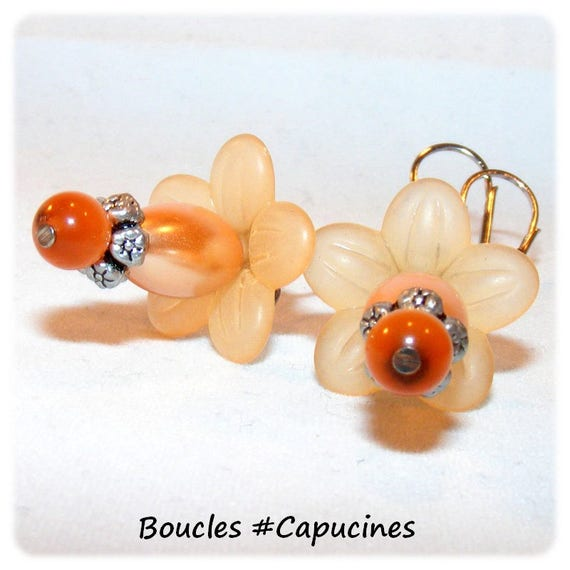 [Nasturtiums] designer earrings - Orange