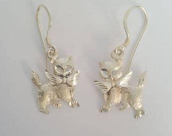 Vintage Fine Silver Cat / Kitten With Bow Dangle Earrings