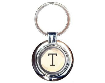 Letter T Typewriter Key Keychain Key Ring