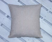 Organic Cotton, Stripe Ticking, Tan and white, Brown and White, Beige. Farmhouse Pillow, French Decor, Pillow Cover, Custom made