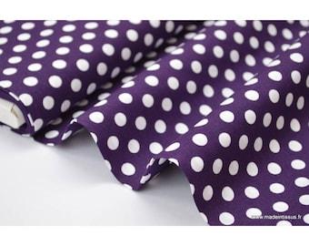 COTTON print 5576 140CM 135 GR/M²x1m purple white polka dots
