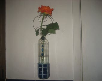 Unique Glass Bottle/Cobalt Blue Glass & Beads Vase with Twirled Wire Hanger/Beautiful Wall Vase