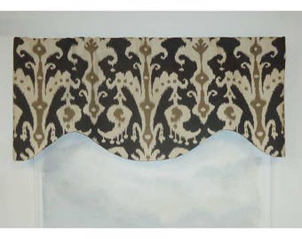 Tribal Ikat in Mink Tan/Charcoal Shaped Valance