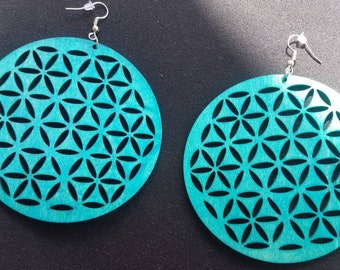 Large round blue wood earrings