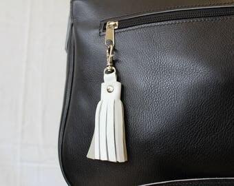Leather keychain. White bag charm;  White Leather keychain