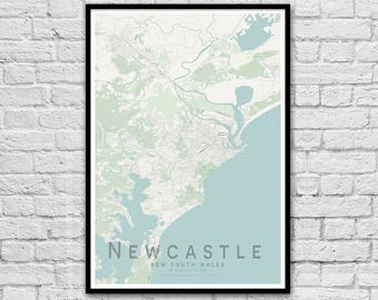 Newcastle NSW City Street Map Print | Apartment Wall Art | Travel Poster | Housewarming Gift | Wall decor | A3 A2 | Gift for Couple