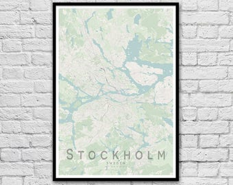 STOCKHOLM Sweden City Street Map Print | Travel Print | Scandinavian Wall Art Poster | Wedding Gift | Anniversary Gift | Wall decor | A3 A2