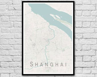 SHANGHAI Map Print | China City Map Print | Wall Art Poster | Wall decor | A3 A2