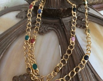 Vintage Gold Tone Egyptian Scarab Necklace