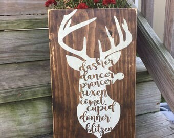 Reindeer wood sign, rustic christmas sign