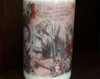 Alice in wonderland pillar candle