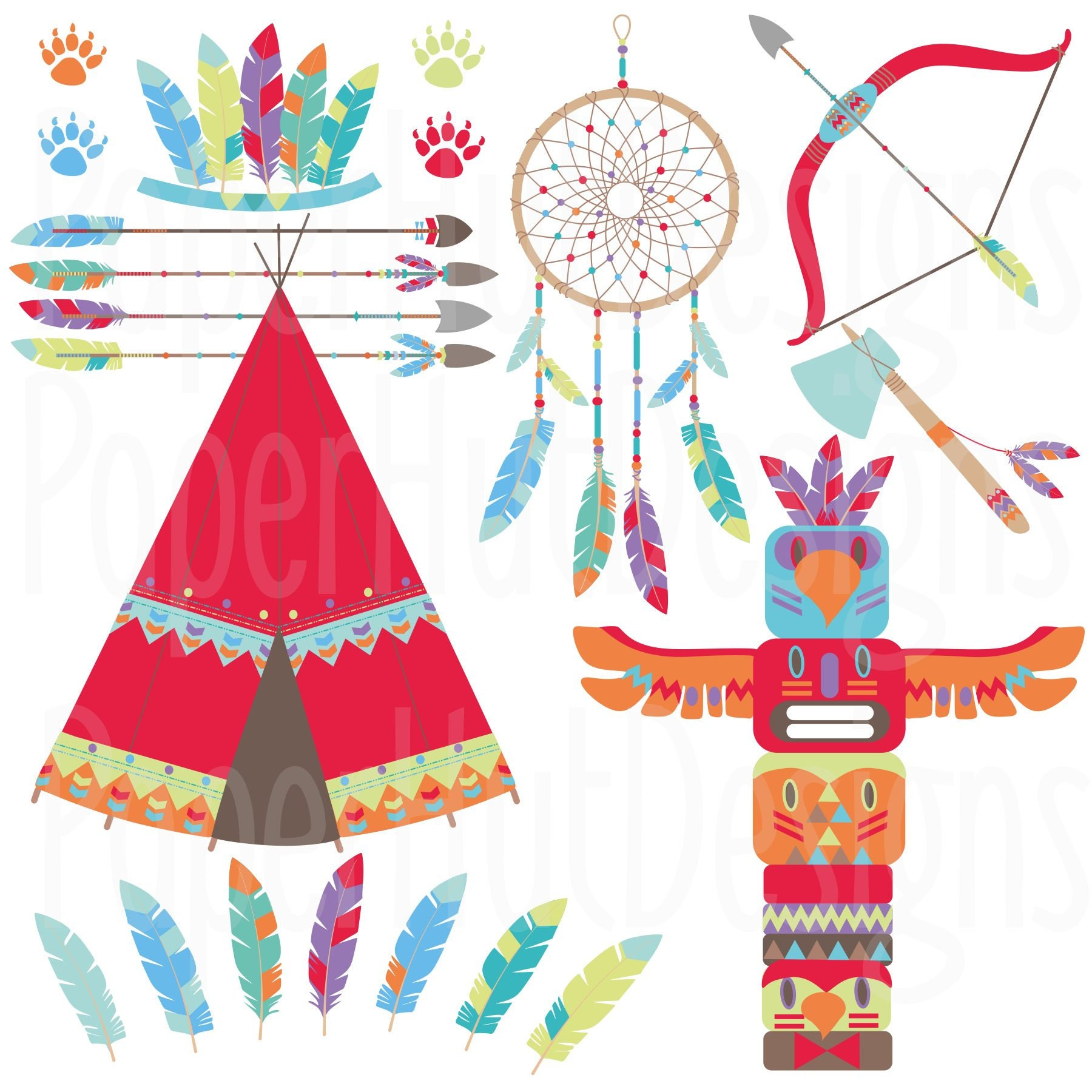 Tribal Woodland Animals Clipart-Tribal Clip Art -Tribal ...