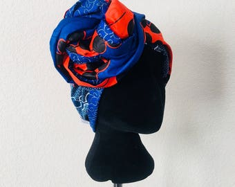 Head Wrap - African - Reversable - Kop Wrap - colbalt swirls