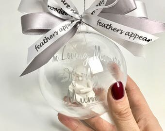 Rememberance Bauble, In Loving Memory Of, Feathers Appear When Angels Are Near, Angel Baubles, Feather Baubles