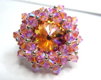 Rose ring Swarovski brandy crystal clear ab2x silver finishes