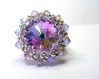 Ring cabochon light vitrail Swarovski Crystal violet ab2x beads finishes