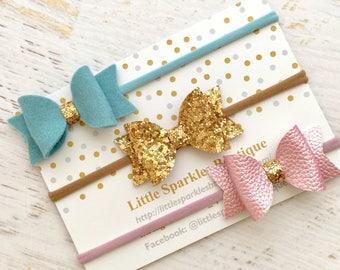 Gold hair bow, lilac hair bow, blue hair bow, baby/girl hair bow,wedding hair, christening