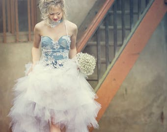 Wedding gown, Paul, lace and denim, unique and very original style.