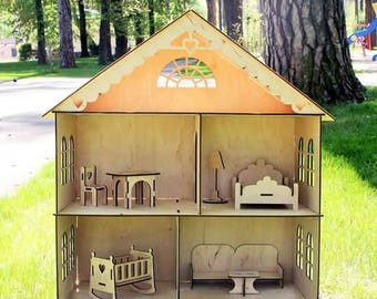 Dollhouse with furniture, Wooden dollhouse, Dollhouse furniture, Wood dollhouse, Doll House, Plywood house, Wooden doll house, Dollhouse Kit