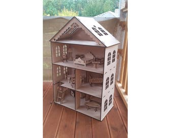 Dollhouse With 4 Floors, Dollhouse With Furniture, Wooden Dollhouse, Dollhouse  Furniture, Wood