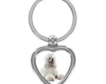 Poodle Image Heart Shaped Keyring in Gift Box