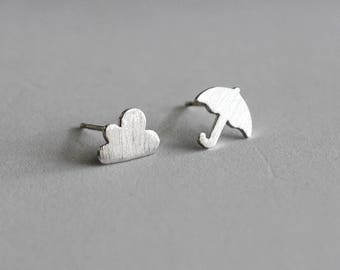 Cloud and Umbrella Stud Earrings / rainy day earrings, rain earrings, weather jewelry, pacific northwest, asymmetrical earrings / E0-55