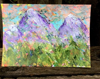 Mountains Original Hand-painted Abstract Art 5x7