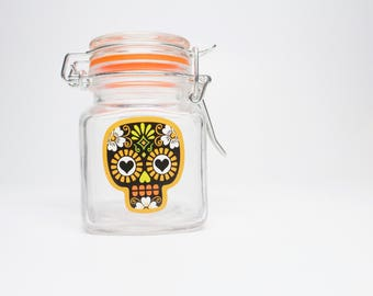 Black & Orange Sugar Skull Stash jar