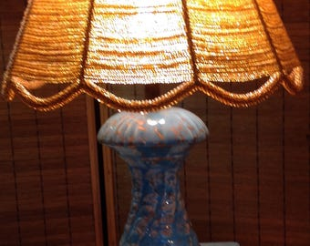 1950's mid century ceramic lamp boho vintage turquoise and gold glass beaded lampshade