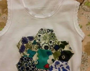 Dark blue Liberty patchwork flower singlet 12 - 18 months