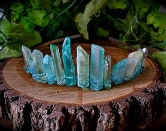 The crystal mermaid crown - handmade green aura and blue aqua aura quartz crystal crown festival fashion boho bride bridesmaid hen's night