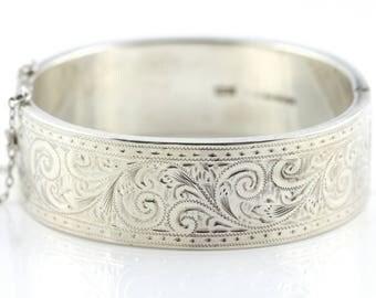 Vintage 1960's Victorian Revival Sterling Silver Bangle