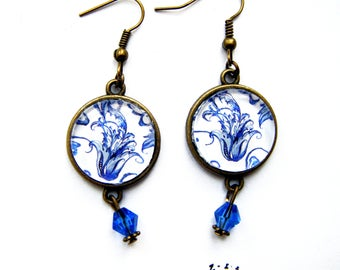 Vintage style blue porcelain earrings