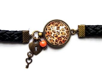 """""""Leopard skin"""" bronze metal bracelet"""