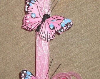 Pink Butterfly Duo Easter Candle/Lambada