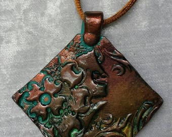 Copper Patina Pendant-Handmade Pendant-Polymer Clay Necklace-Polymer Clay Jewelry-OOAK Jewelry