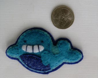 Eco-Felt Handsewn Whale Pin