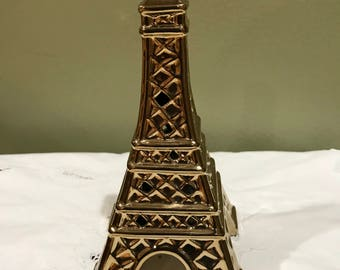 """Gold Tone* Ceramic/Glass Eiffel Tower Pot Pourri Scented Dry Flower  Holder* 7.5"""" T X 3.5"""" W At Base*"""