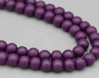 54 Matte Textured Hyacinth Purple 6mm Glass Beads with 1mm Hole