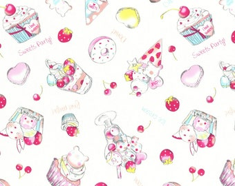 White Ice Cream and Sweets Cotton Oxford fabric