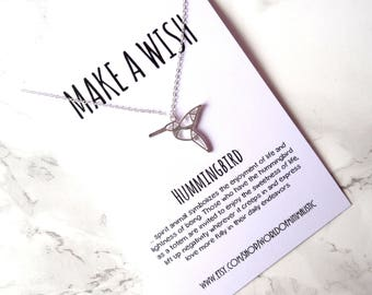 Hummingbird wish necklace, bird necklace, minimalist simple necklace, layering necklace, dainty delicate necklace, gift for her,