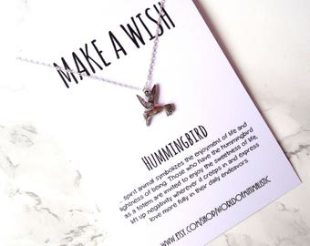 Hummingbird dainty necklace, simple minimalist bird necklace, make a wish necklace, bridesmaid jewelry, BFF necklace, sister gift necklace