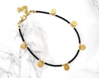 Bohemian anklet, coins anklet bracelet, simple boho anklet, adjustable beaded gold anklet, minimalist dainty anklet bracelet, gift for her