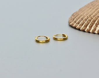 Gold Hoops, 8mm Ear Hoops, Delicate Rings For Ears, Piercing Hoops, Simple Gold Hoops, Gift Ideas, Cartilage Hoops,(E36G)