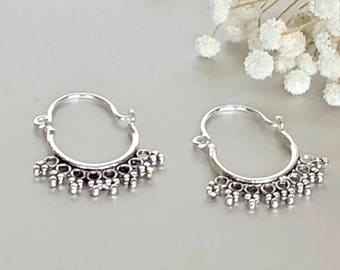 Silver Ear Hoops, Minimal Silver Hoops, Sterling Silver Hoops, Piercing Hoops, Silver Earrings, Gift Ear Hoops  (E193)