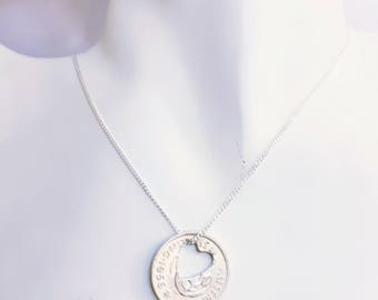 AUSTRALIA Heart Shilling Coin Pendant Handcrafted ... made from Vintage Australian Coins. Custom to your choice of years
