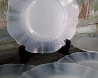 Beautiful Mcbeth evans American sweetheart monax opalesant set of six side plates