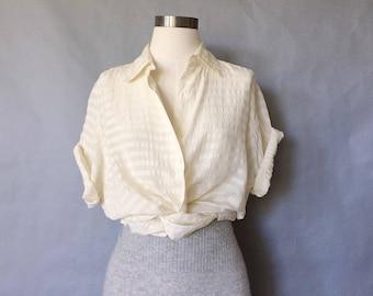 vintage silk blouse/ minimalist silk top/ silk shirt/ 80s silk top/ short sleeve women's size M/L