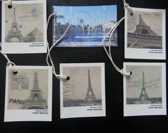 5 labels vintage style with pictures of the Eiffel Tower
