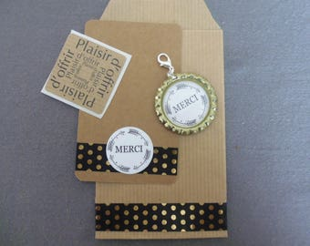 """""""MERCI"""" purse jewelry cabochon resin 25 mm with gift packaging and thank you card"""